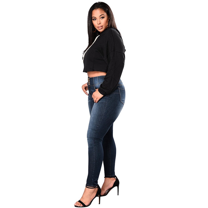 VenusFox Plus Size Push Up Denim Stretch High Waist Skinny Pants