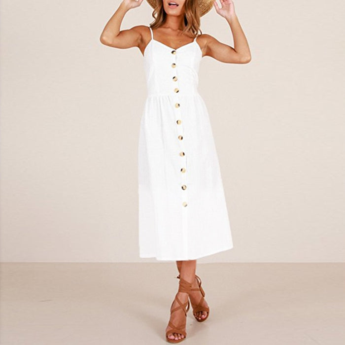 VenusFox Sleeveless Sexy Boho Midi Dress