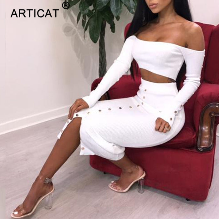 VenusFox Off Shoulder Long Sleeve Sexy Bodycon Dress