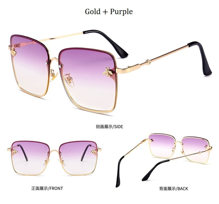 Retro Square Metal Frame Oversized Sun Glasses UV400