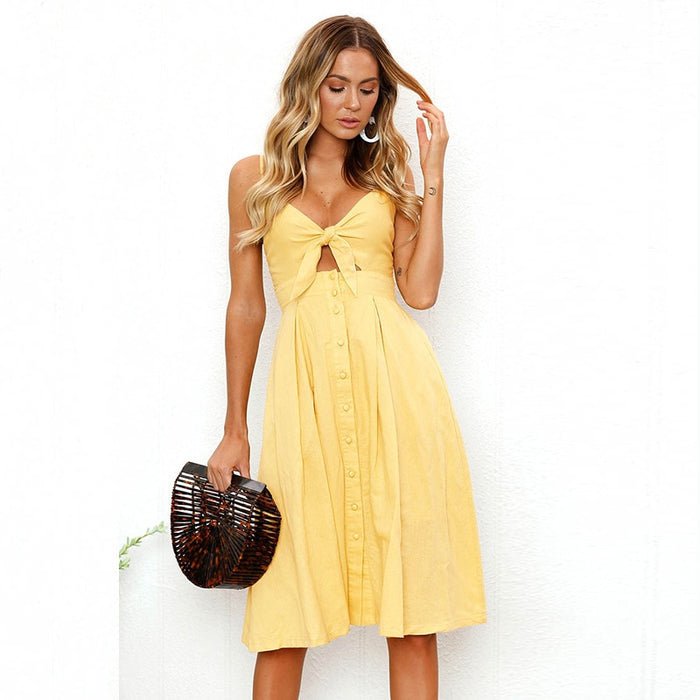 VenusFox Sexy Bow Deep V Neck Backless Beach Summer Dress