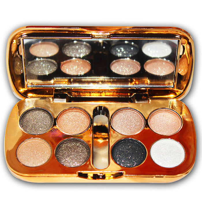 Glitter Eyeshadow With Brush Shiny Eye Shadow Palette 8 Colors