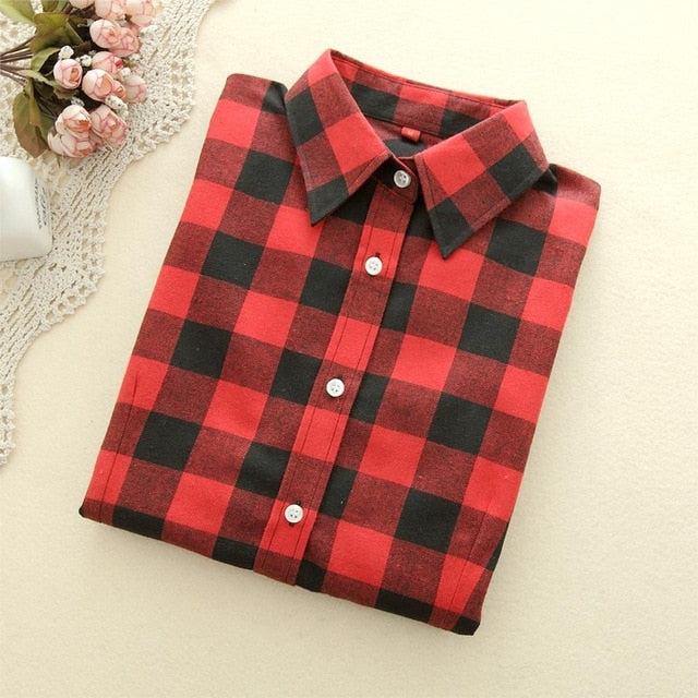 VenusFox Women Blouses Long Sleeve Flannel Plaid Shirts Cotton Shirt Casual