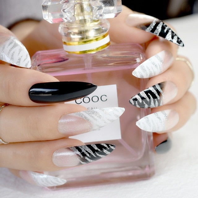 Extra Long Pointed Pre-designed Nails Black White Zebra Bent Press On Nails including glue sticker
