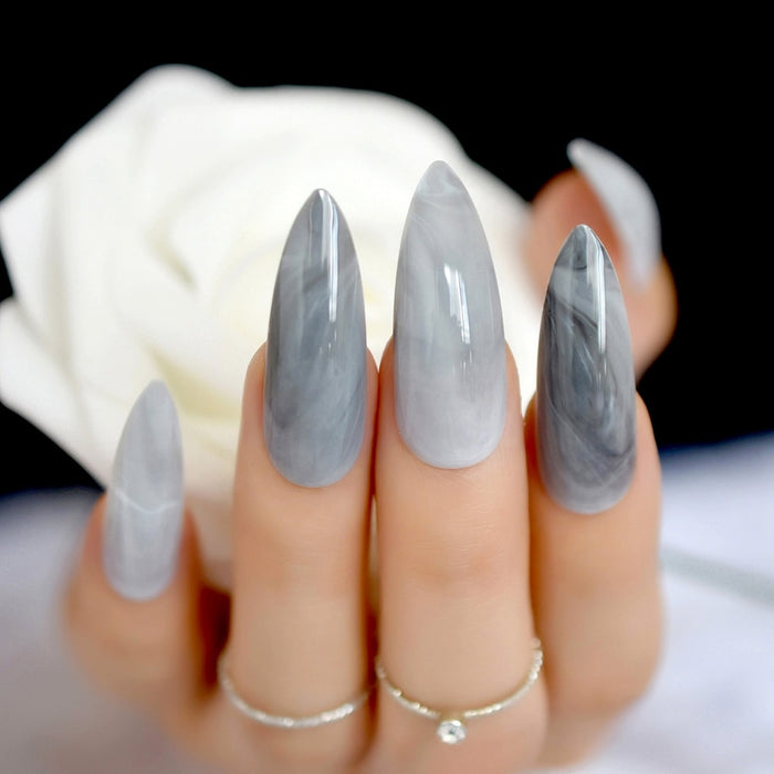 Extra long Grey Marble Fake Nails Stone Pattern 24 Count