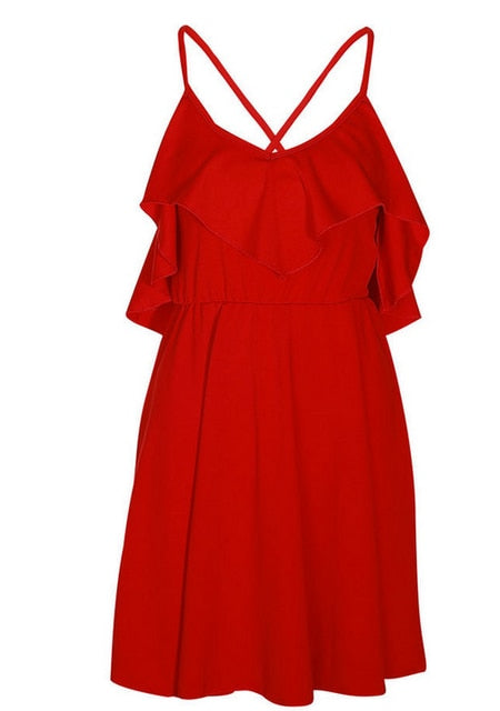 VenusFox Backless Cross Drawstring Ruffles Bundle Waist V-neck Strap Mini Dress Summer Red Vintage