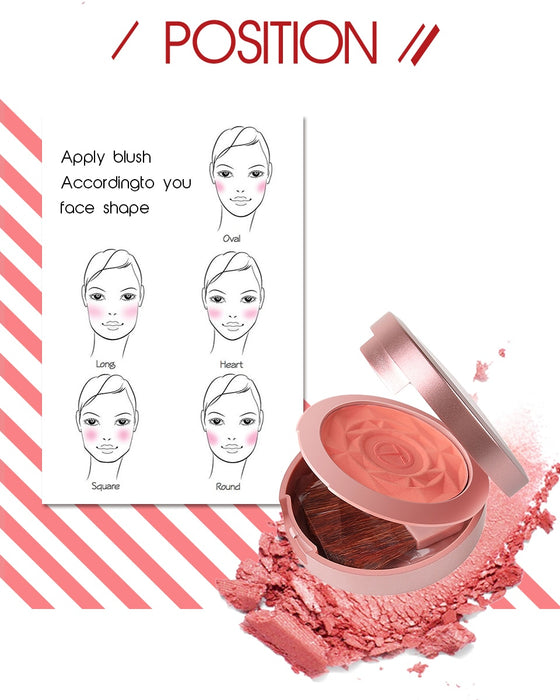 Shimmer Blush With Brush Makeup Flower Palette Long-Lasting Face Check Blush Pink Orange Red