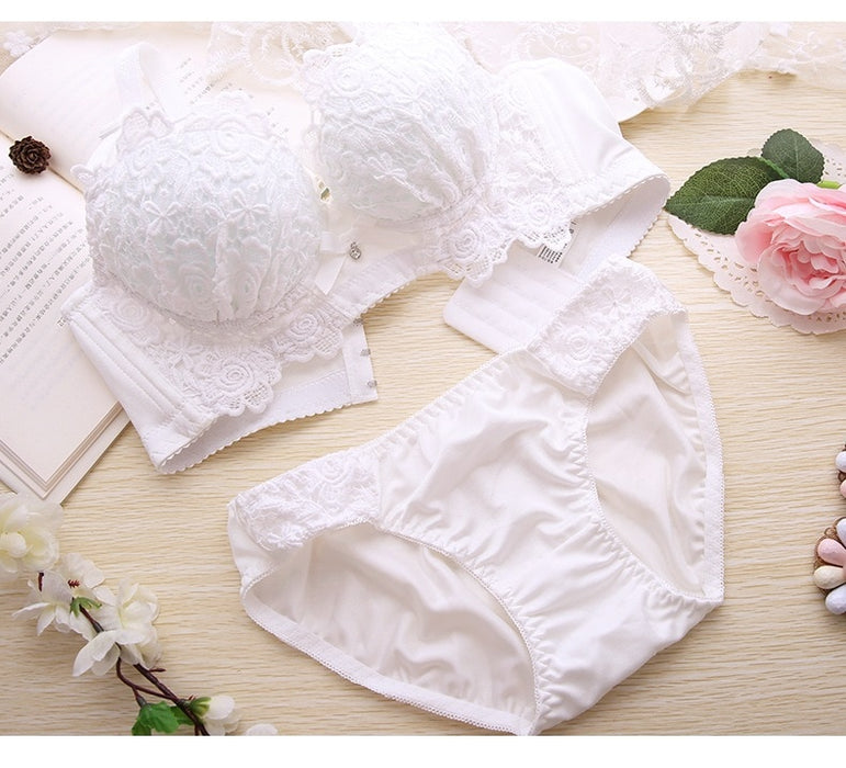 VenusFox Push Up Bra Set Sexy Embroidery Lingerie Womens Panties Bralette set
