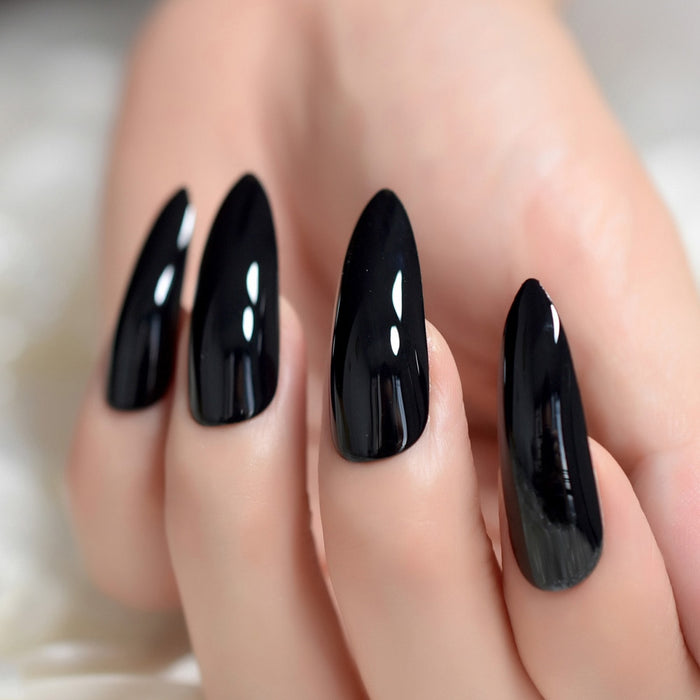 Black Extremely Long Nails 24 Full Set of Nails UV Gel Finished Press on Nail