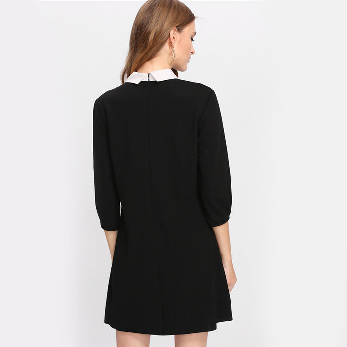 VenusFox Black Tied Collar Pocket Dress