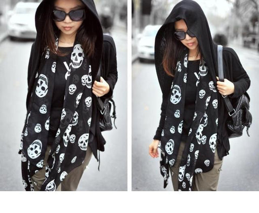 Women Summer Beach Long Shawl Fashion Skull Print Thin Silk Scarf 50*150cm