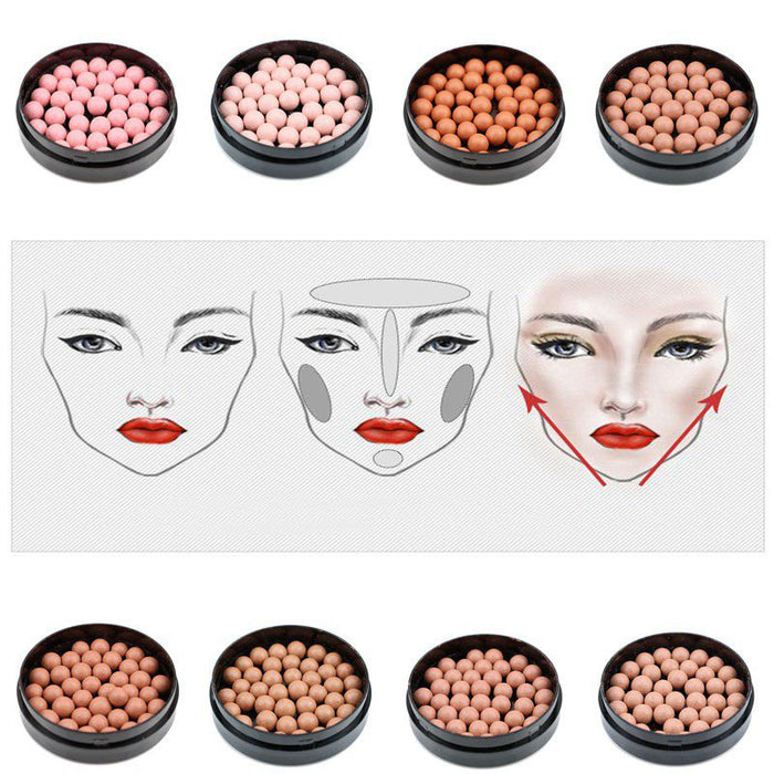 Matte Blusher Ball 3 In 1 Contour Powder 8 Colors Bronzer Contour Nude Light Soft Blush