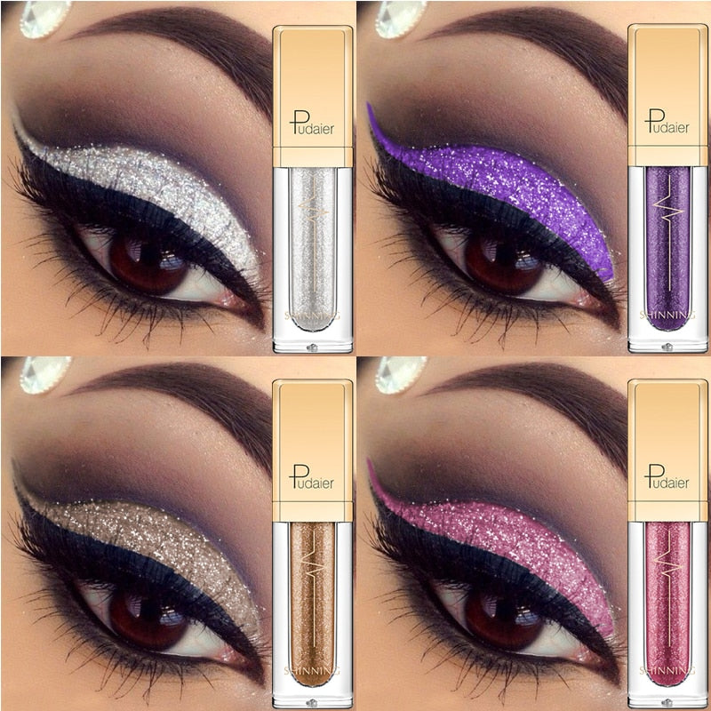 Liquid Glitter Shimmer Waterproof Eyeshadow Metallic Pigment Eyes Makeup 18 Colors