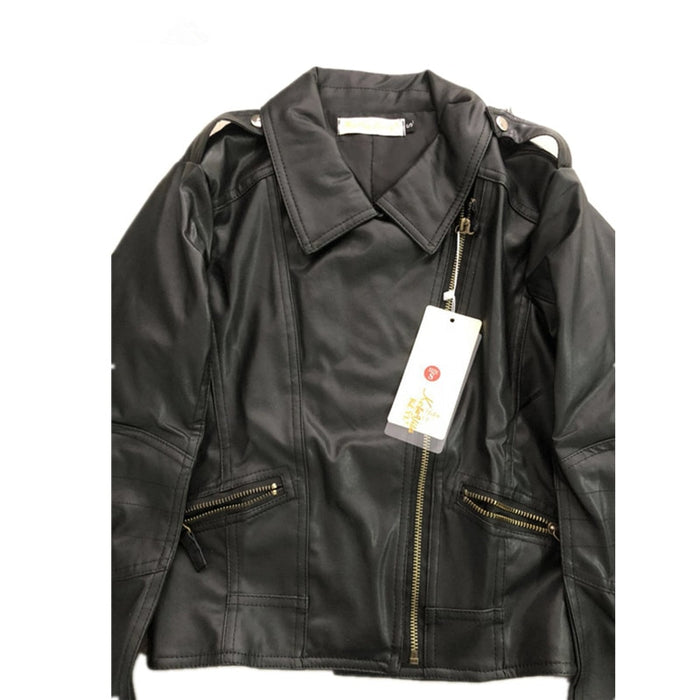 VenusFox Zipper Faux Leather Jackets plus Sizes