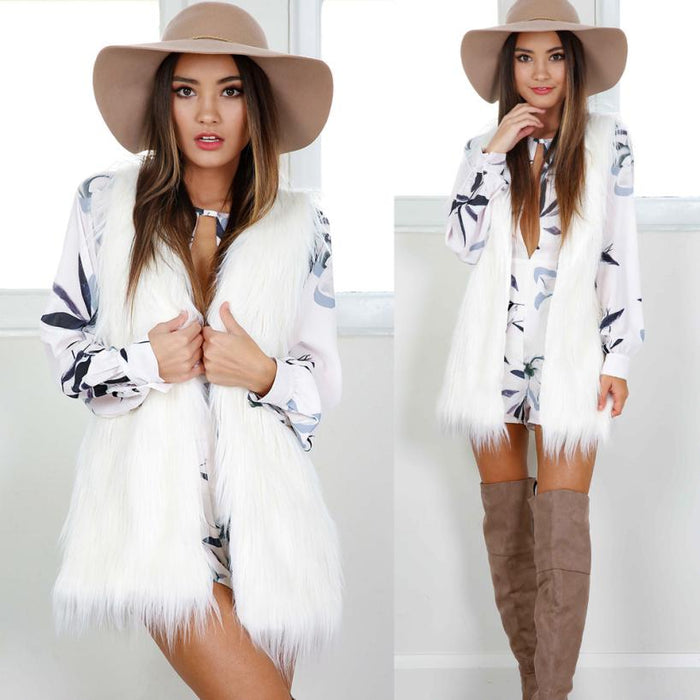 VenusFox Warm Sleeveless White Vest Faux Fur Jacket