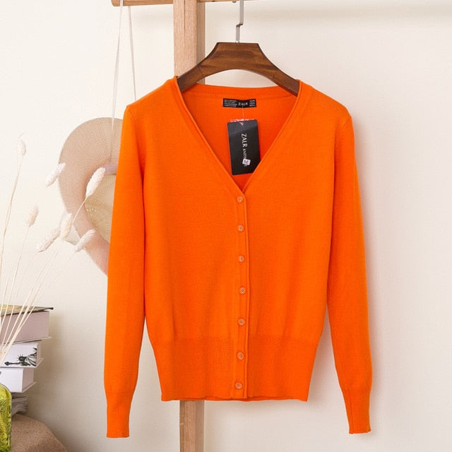 VenusFox Autumn Women Knitted Cardigan with buttons