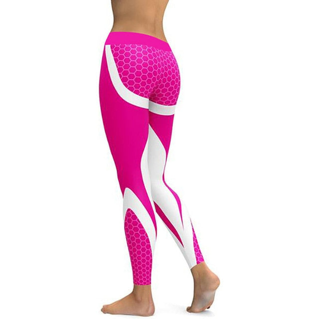 VenusFox Mesh Pattern Print Fitness Leggings