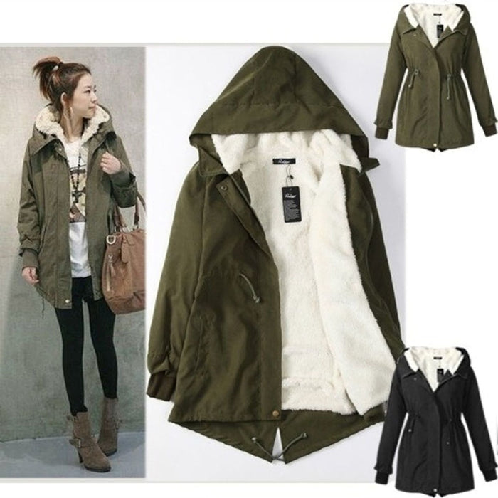 VenusFox Mid Long Zipper Hoodie Coat