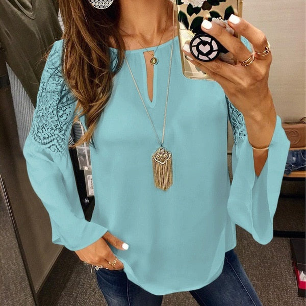VenusFox Women Blouses Chiffon Lace Patchwork Flare Sleeve Work Shirts Tops