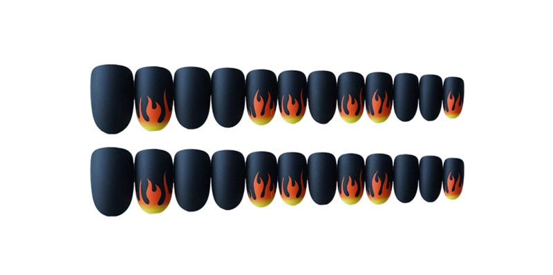 24pcs/Set Matte False Nails Dark Black Pre-design Short Round Head Full Cover
