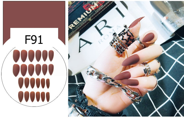 16 Colors 24pcs Matte Long Full Cover Nail Tips Press On Design Stickers