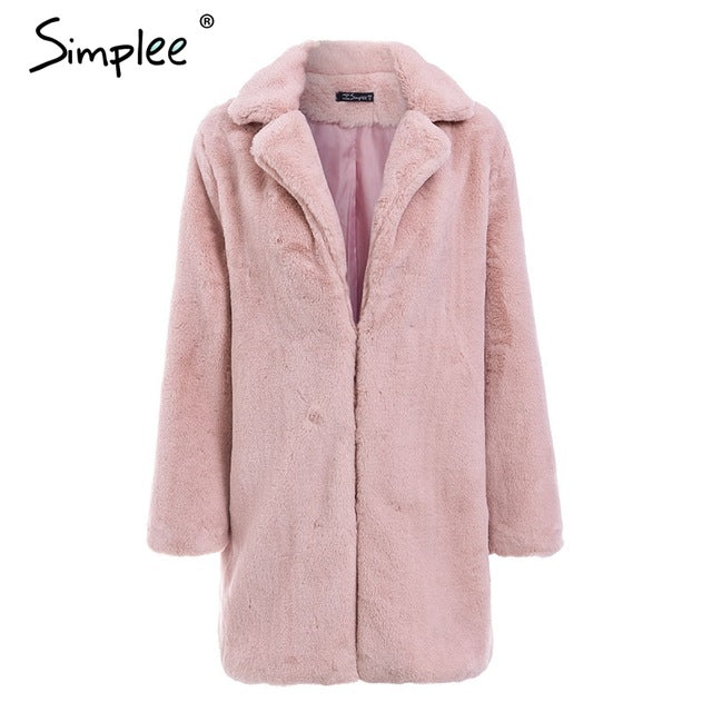 VenusFox Elegant faux fur teddy coat plus size