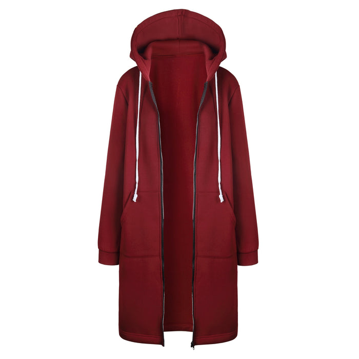 VenusFox Long Coat Casual Loose Zipper Sweatshirt Thick Hoodies Jacket