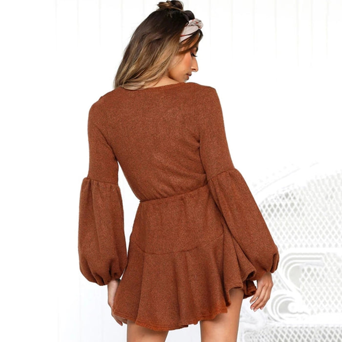 VenusFox V-Neck Ruffle Knitted Lace Up Short Casual Long Sleeve A-Line Sweater Dress