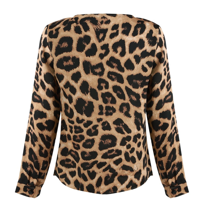 VenusFox Women Leopard Print Loose Long Sleeve V-Neck Tops Blouses