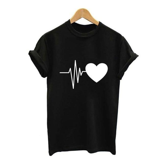 VenusFox Harajuku Love Printed Short Sleeve T-shirts Casual Tee Tops
