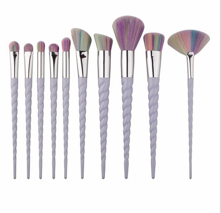 Professional 10PCS Spiral White Handle Makeup Brushes