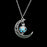 Women Gem Charm Silver Jewelry Moon Glowing Stone Necklace
