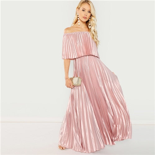VenusFox Womens Pink Off the Shoulder Pleated Satin Sexy Party Club Elegant Maxi Dress