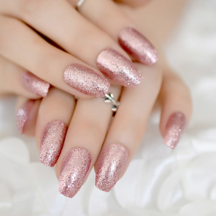 Rose Gold 24 Full Cover False Nails Glitter Acrylic Nail Tips 12 sizes Full Coverage with Glue