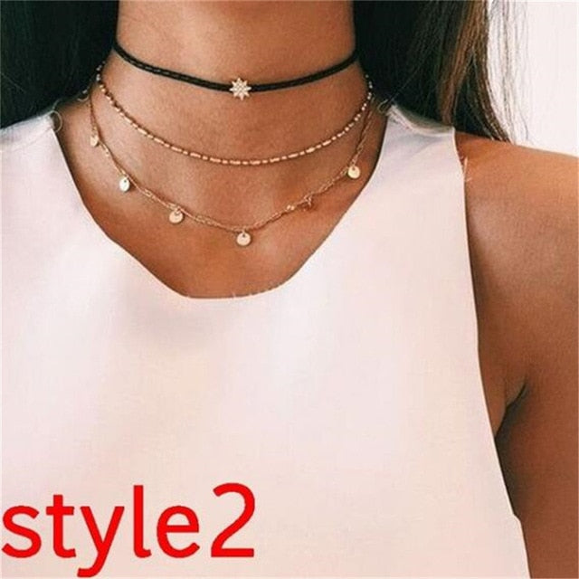 Women Vintage Charm Multilayer Jewelry Crystal Moon Choker Necklaces