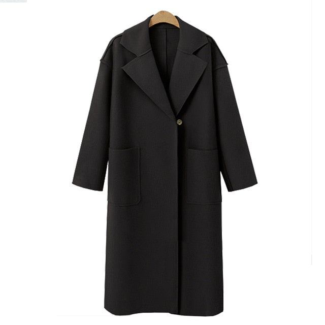 VenusFox Long Sleeve Blazer Wool Coat