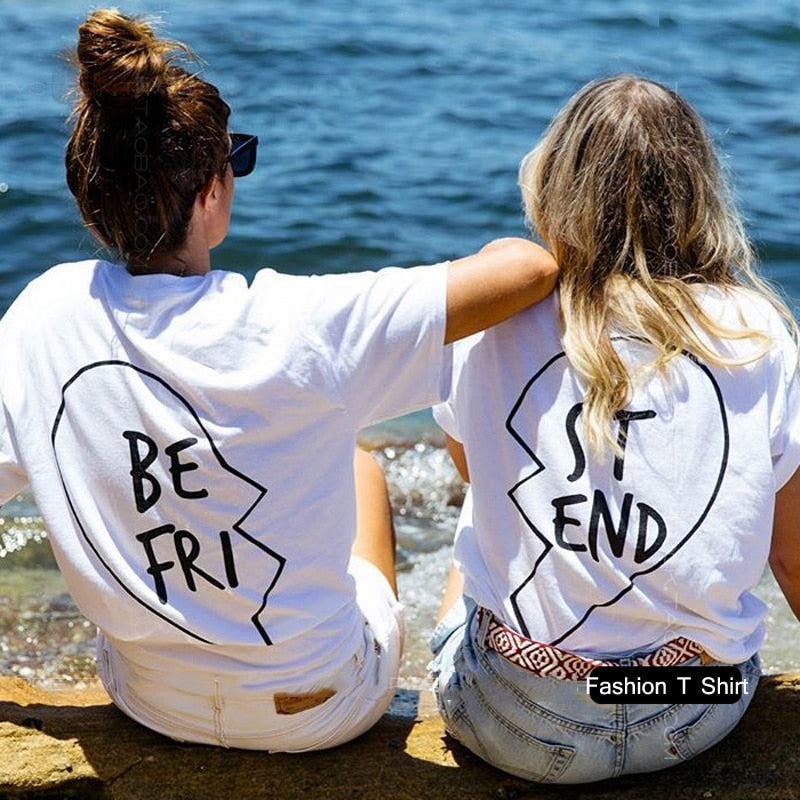 VenusFox Women Best Friends Printing Letter T-Shirt