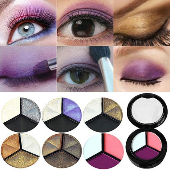3 Colors Eyeshadow Makeup Natural Smoky Cosmetic Eye Shadow Palette Set