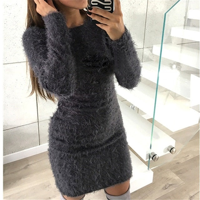 VenusFox knitted fluffy Bodycon Dress