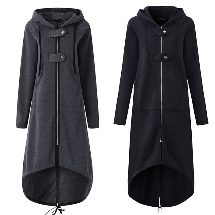 VenusFox Plus Size Long Sleeve Black Zipper Hooded Trench Coat
