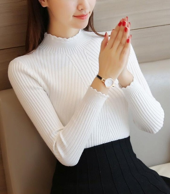 VenusFox Knitted Sweater Turtleneck Long Sleeve Slim Fit Women's Pullovers