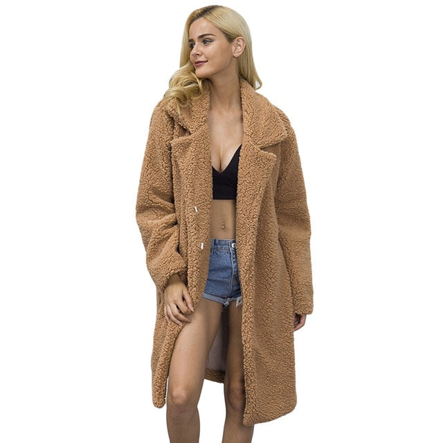 VenusFox Faux Fur Fluffy Long Coat