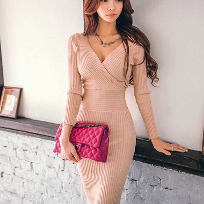 VenusFox Women Knitted V-neck Cotton Skinny Sweater Dress  Slim Bodycon Dress Elegant Sexy Party