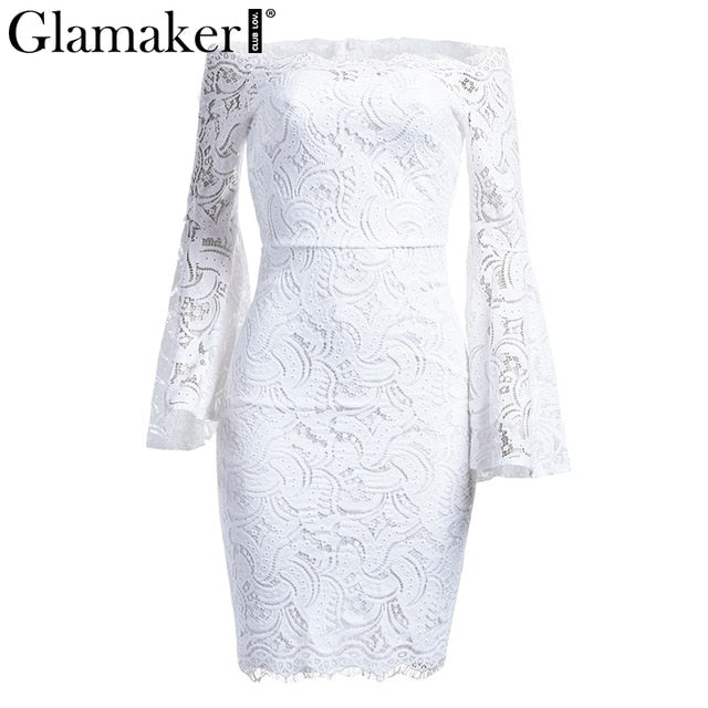 VenusFox Off Shoulder Lace Long Sleeve Bodycon Dress