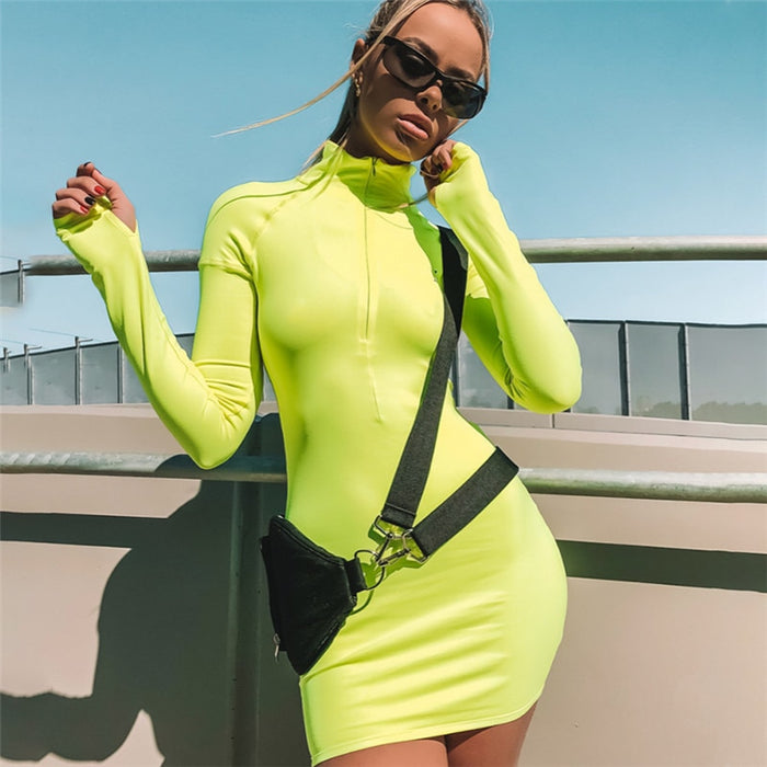 VenusFox Neon Color Dress Sexy Skinny Zipper Front Long Sleeve Dress