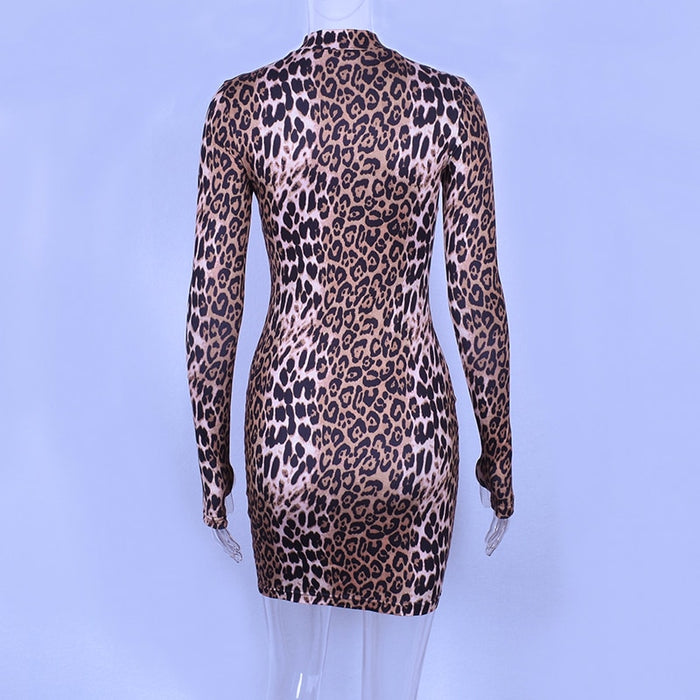 VenusFox long sleeve high neck leopard print high waist sexy dresses party dresses