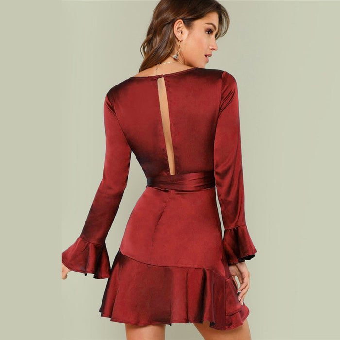 VenusFox Women V-Neck Ruffle Belted Cut Out Long Sleeve Party Mini Dress