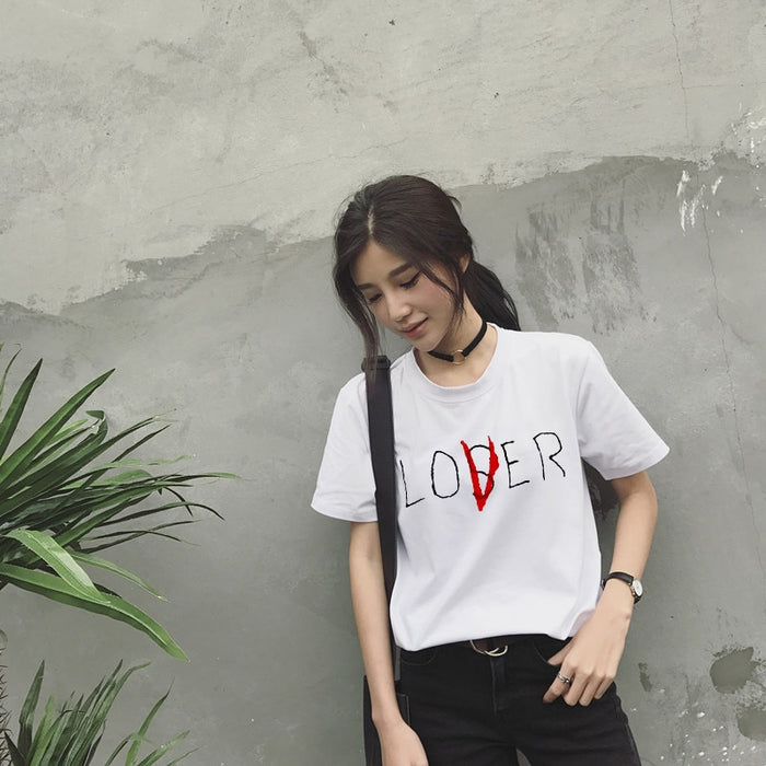 VenusFox Casual  Short Sleeve Loser Lover T-Shirt