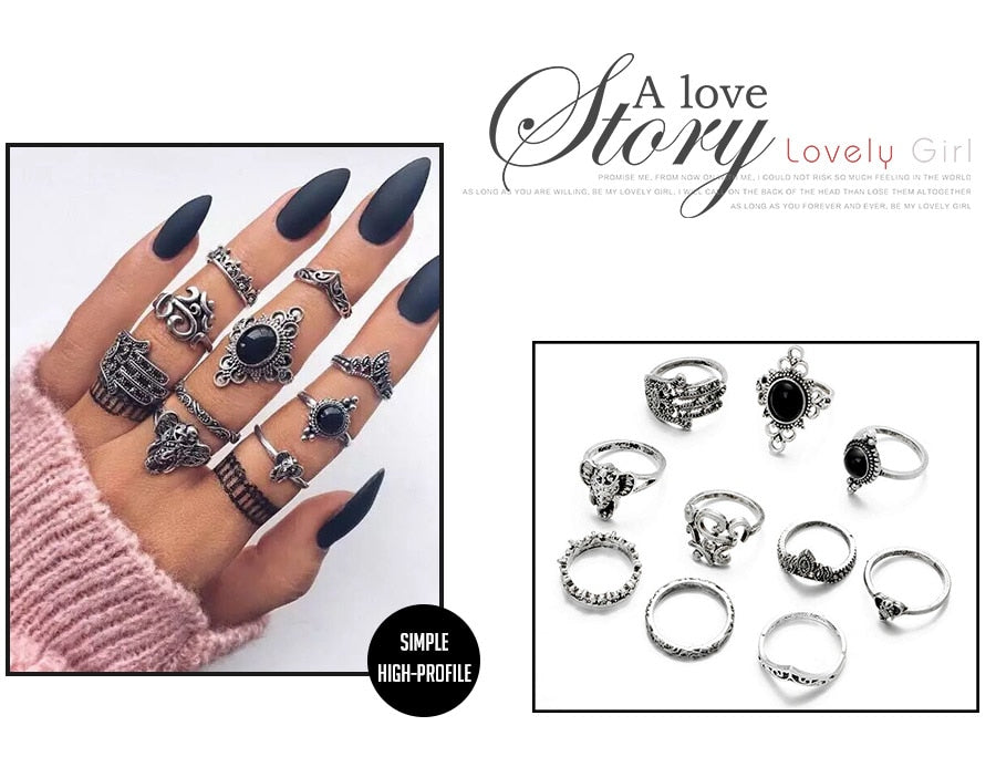 Women   7 Style Vintage Boho Geometric Flower Crystal Knuckle Midi Finger Rings for Ring Set