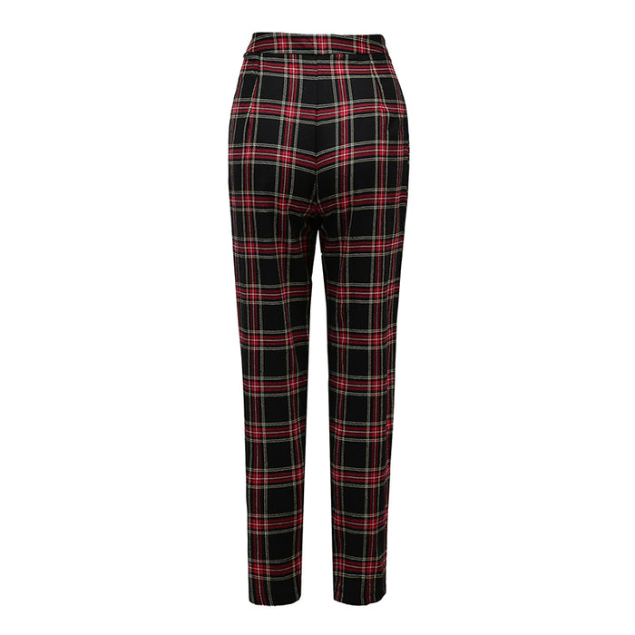 VenusFox Mid Waist Casual Loose Plaid Pants with Zipper